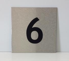 RVS deurplaatje, met nummer 6 - formaat 9 x 9 cm