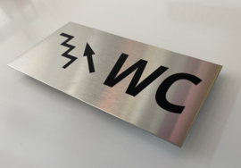 """RVS deurplaatje, opschrift """"WC""""  + pijl trap links omhoog 18x9cm"""