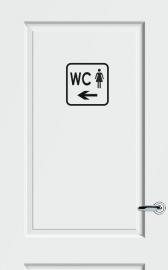 WC deursticker KADER + TEKST WC + PICTO DAMES + PIJL LINKS- Art.nr. PSK 017