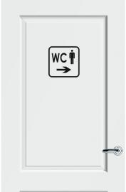 WC deursticker KADER + TEKST WC + PICTO HEREN + PIJL RECHTS - Art.nr. PSK014