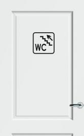 WC deursticker KADER + TEKST WC + TRAP + PIJL LINKS OMHOOG- Art.nr. PSK011