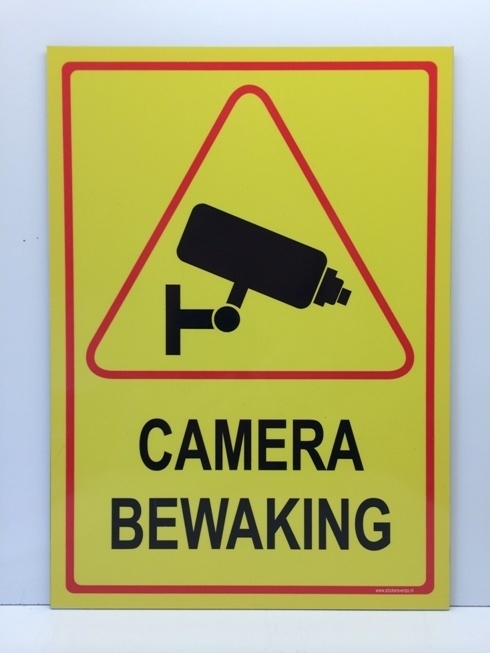 Sticker 'CAMERABEWAKING' - GROOT - Art.nr. 0059S