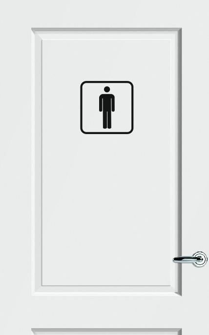 WC deursticker HEREN PICTOGRAM + KADER - Art.nr. PSK003