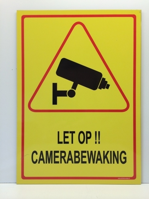 Sticker 'LET OP !! CAMERABEWAKING' - GROOT - Art.nr. EF089S