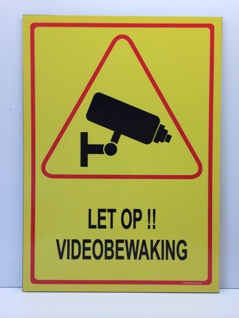 Sticker ' LET OP!! VIDEOBEWAKING' - GROOT - Art.nr. EF088S