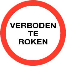 VERBODEN TE ROKEN sticker TEKST  ⌀ 20 cm - art.nr. PS0002-20