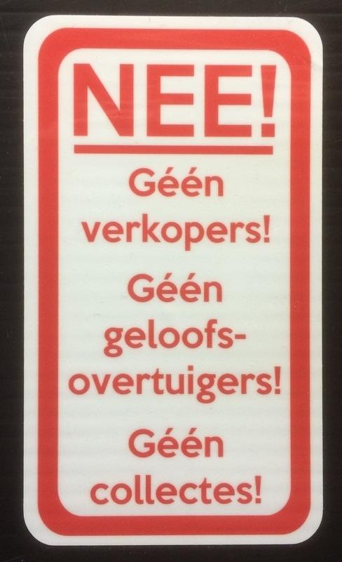 Sticker Geen verkopers - Geen geloofsovertuigers - Geen collectes - Art.nr.0064