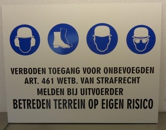 Veiligheidsbord kunststof,  65x45 cm