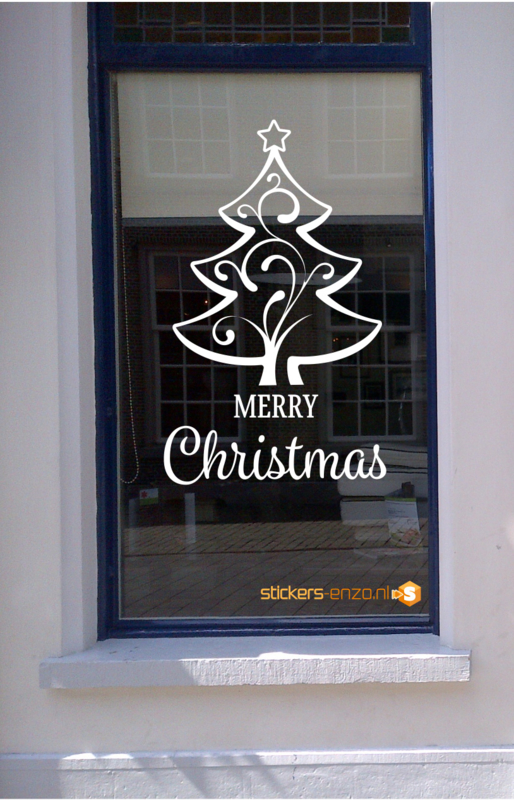 Feestdagen Raamsticker 7 - MERRY CHRISTMAS - 50 X 80CM - HERBRUIKBAAR!