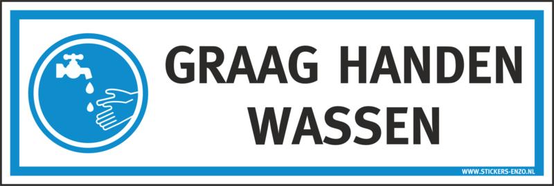 Pictogramsticker GRAAG HANDEN WASSEN 30X10 CM - ART.NR. PS0101-30X10
