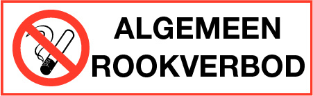 Sticker ALGEMEEN ROOKVERBOD langwerpig - 30x10 CM - art.nr. PS0004-30x10