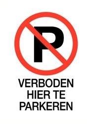 Parkeren verboden sticker + tekst 14 x 20 cm (art.nr.3232.59)
