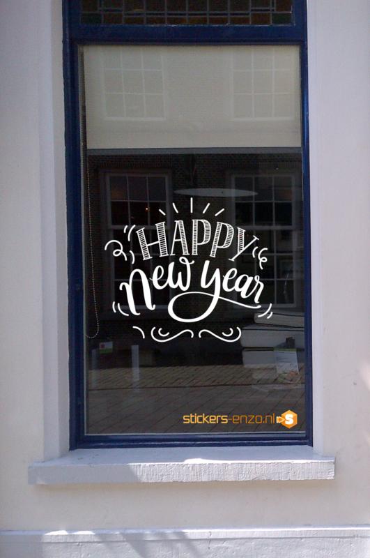 Feestdagen Raamsticker 12 - HAPPY NEW YEAR - 90 X 80CM - HERBRUIKBAAR!