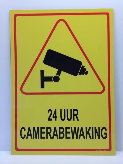 Sticker ' 24 UUR CAMERABEWAKING' - GROOT - Art.nr. EF085S