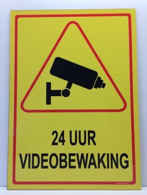 Sticker ' 24 UUR VIDEOBEWAKING' - GROOT - Art.nr. EF084S
