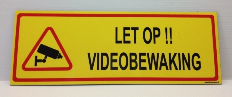 Sticker 'LET OP !! VIDEOBEWAKING' - Art.nr. EF079S