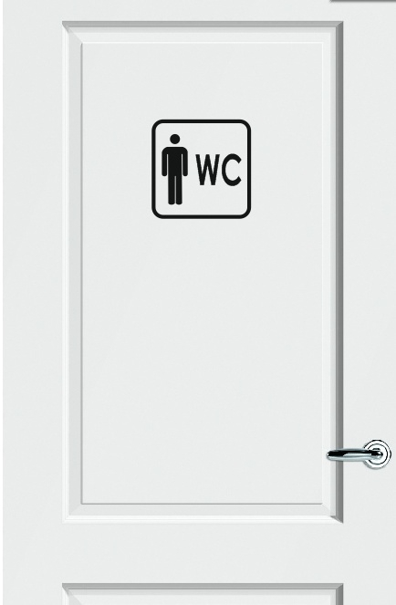 WC deursticker KADER + PICTOGRAM HEREN + TEKST WC - Art.nr. PSK006