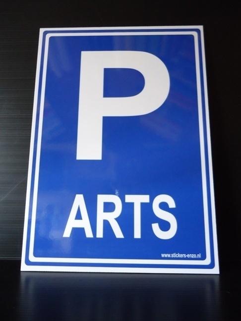 "Kunststof bord met opdruk ""P"" + ARTS - Art.nr. EF041"