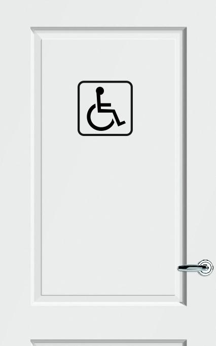 WC deursticker MINDERVALIDE PICTOGRAM + KADER (STANDAARD PICTOGRAM) - Art.nr. PSK004