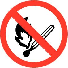 Pictogrambordje OPEN VUUR verboden 21x21cm - art.nr. PS0007-20B