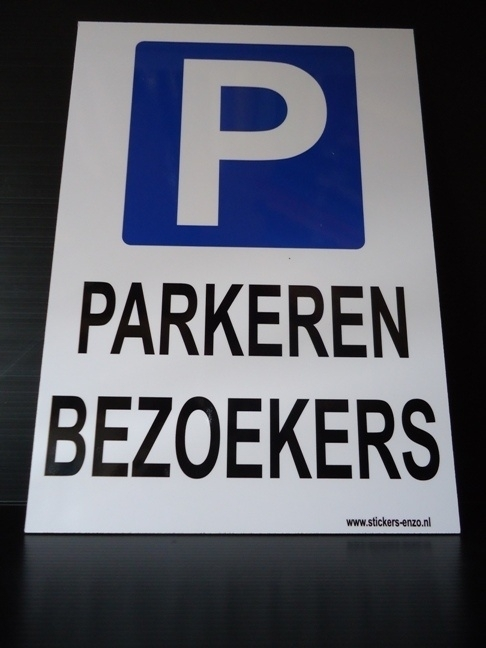 """Kunststof bord met opdruk """"P"""" bezoekers - Art.nr. EF038"""