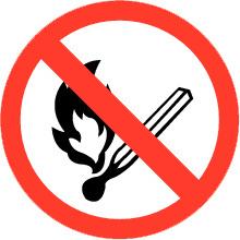 Pictogrambordje Open Vuur verboden 16X16 cm - art.nr. PS0007-15B