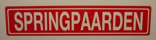 """Sticker opschrift """"SPRINGPAARDEN"""" - Art.nr.0032"""