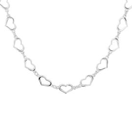 Zilveren Collier met Opengewerkte Hartvormige Schakels