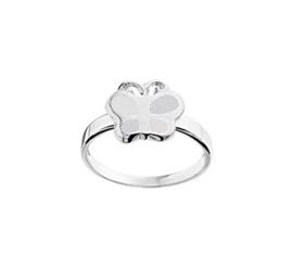 Zilveren Ring voor Kinderen met Witte Parelmoer Vlinder