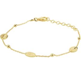 Goudkleurige Armband met Bolletjes en Ovaalvormige Scapulier