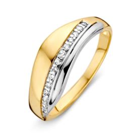Excellent Jewelry Gouden Dames Ring met Witgouden Element en Zirkonia's