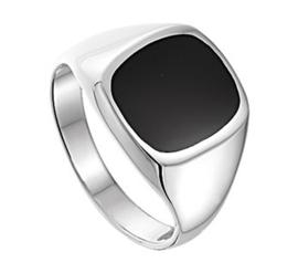 Zwarte Onyx Steen Zegelring van Gepolijst Zilver