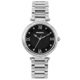 Zilverkleurig Dames Horloge van Prisma met Zwarte Wijzerplaat