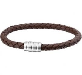 Bruin Leren Gevlochten Armband / Lengte 19,5