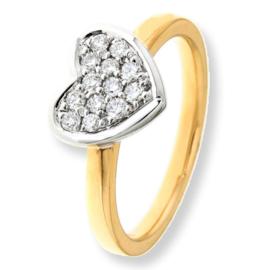 Excellent Jewelry Geelgouden Ring met Witgouden Diamant Hartje