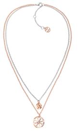 Roségoudkleurige Schakelketting met Opengewerkte Decoratieve Munt