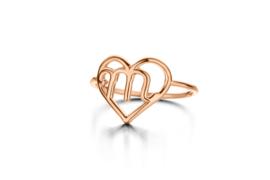 Roségouden Hart Initiaal Ring van Nomelli