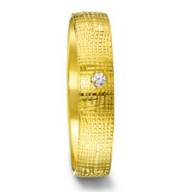 Gouden Dames Trouwring met Speels Patroon en Diamant