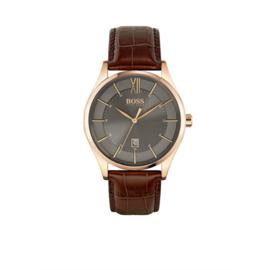 Hugo Boss Horloge Distinction Roségoudkleurig Horloge met Bruine Band van Boss