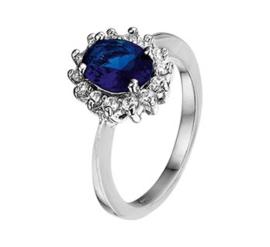 Ring met Blauwe Saffier Steen met Zirkonia's / Ringmaat 18,5