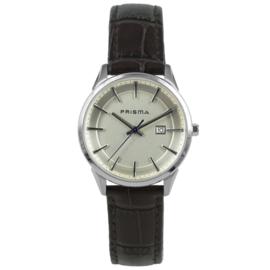 Prisma Dames Horloge met Zilverkleurige Kast en Zwarte Band