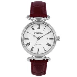 Zilverkleurig Luxueus Dames Horloge van Prisma met Rood Lederen Band