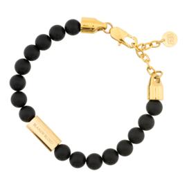 Blaauw Bloed Royal Matte Obsidiaan Armband met Goudkleurige Bedel