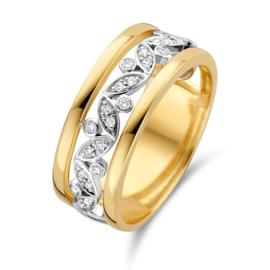 Excellent Jewelry Opengewerkte Bicolor Ring met Diamanten