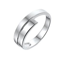 Gepolijste Dubbele Strook Ring van Zilver