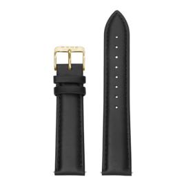 Zwarte Lederen Horlogeband met Goudkleurige Gespsluiting van KANE