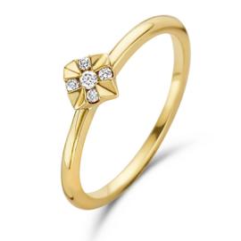 Excellent Jewelry Gouden Ring met Vierkant Diamant Kopstuk