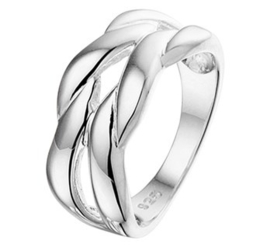 Gevlochten Brede Ring van Gepolijst Zilver