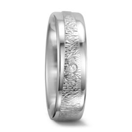 Zilveren Dames Trouwring met Gepolijste Randen en Diamant
