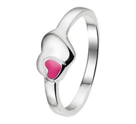 Zilveren Ring voor Kinderen met Roze Emaille Hart